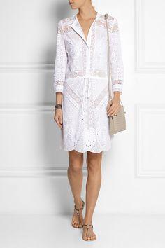 Roberto Cavalli|Broderie anglaise cotton mini dress|NET-A-PORTER.COM