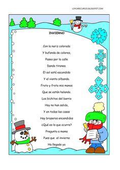 poemas-y-rimas-del-invierno-infantil. Bilingual Classroom, Bilingual Education, Classroom Language, Spanish Classroom, Teaching Spanish, Preschool Poems, Preschool Activities, Spanish Songs, Spanish Lessons