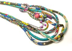Blue Multi Strand Necklace Textile layered necklace by ATLIART