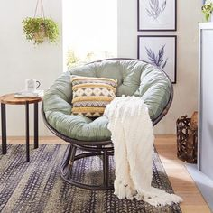 Our Papasan frame is handcrafted of natural—and naturally durable—rattan, with a lacquer finish. Papasan Cushion, Papasan Chair, Egg Chair, Chair Photography, Rattan, First Apartment Decorating, Round Chair, Bedroom Chair, Bedroom Setup