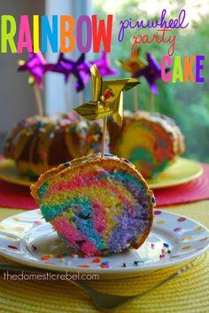 Rainbow Pinwheel Party Cake!