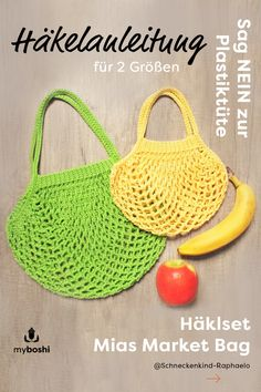 Crochet shopping net or shopping bag yourself and do without plastic - DIY Upcycling, Umwelt, Crochethacks - Knitting Projects, Knitting Patterns, Crochet Patterns, Easy A, Knit Crochet, Crochet Hats, Knit In The Round, Market Bag, Cotton Lights