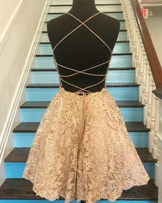 Buy A Line Blue Lace Appliques Homecoming Dresses Backless Above Knee Short Prom Dresses online. Rock one of the season's hottest looks in a burgundy homecoming dress or choose a timeless classic little black dress. Cheap Short Prom Dresses, Lace Homecoming Dresses, Hoco Dresses, Formal Dresses, Backless Dresses, Dress Backs, Dream Dress, Dresses Online, Lace Shorts