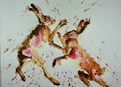 Buy Boxing Hares 38cm x 28cm, Watercolor by Anna Pawlyszyn on Artfinder. Discover thousands of other original paintings, prints, sculptures and photography from independent artists.