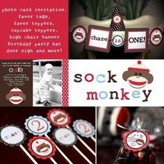 Sock Monkey theme - Brown, Red, Baby Blue