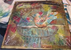 """trust"" - mixed media treasure map on canvas"