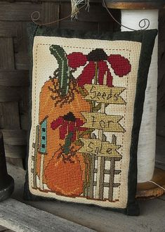 Primitive Pumpkin Sunflower Cross Stitch PDF by kimberleeannPrims, $8.00