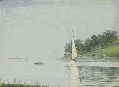 """""""Yacht in a Cove, Gloucester,"""" Winslow Homer, 1880, watercolor on paper, 10 x 13 3/4"""", private collection."""