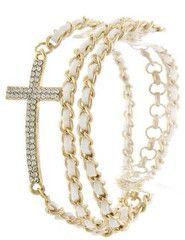 Cross Beaded Wrapped Bracelet   white