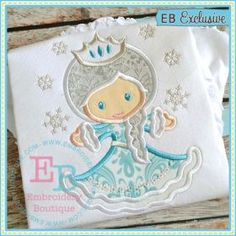 Winter Princess Applique EB need Embroidery Designs, Embroidery Boutique, Embroidery Fonts, Applique Designs, Embroidery Applique, Machine Embroidery, Free Applique Patterns, Applique Templates, Sewing Appliques