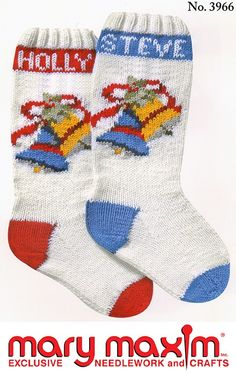 Knit this stocking for Christmas using Mary Maxim Worsted Weight yarn.
