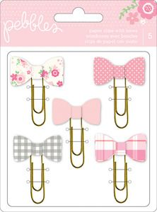 Baby > Paper > Girl Paper Clips With Bows - Special Delivery - Pebbles: A Cherry On Top