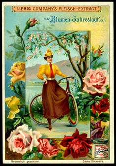 The course of life - french victorian trade card circa 1905 Liebig advert countryside scene woman and bicycle dress ephemera Vintage rose Vintage Labels, Vintage Ephemera, Vintage Cards, Vintage Postcards, Handmade Wallpaper, Paris 1900, Decoupage, Vintage Seed Packets, Museum