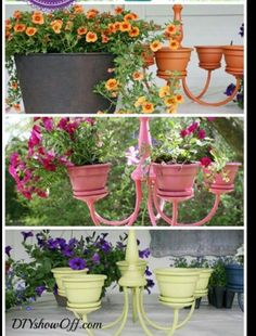 Create an outside feature from an old lightfitting, glue plantpots to the old light and paint all in the new colour x