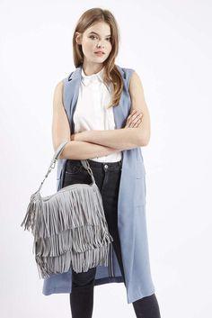 New TOPSHOP LEATHER TASSLE HOBO BAG Gray Blue Fringe Boho Hippie Handbag Purse #Topshop #Hobo