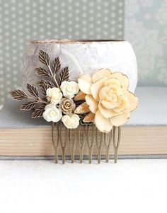 Ivory Cream Rose Bridal Hair Comb Flower Hair by apocketofposies