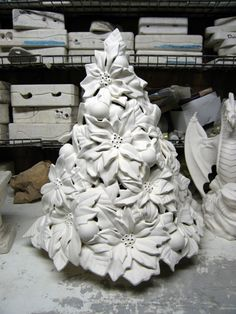 """Lovely 16"""" Rare Vintage Tree, Poinsettia Christmas tree, Alantic Christmas tree, Flower tree,Ready to paint, Ceramic Bisque by TSoriginals on Etsy"""
