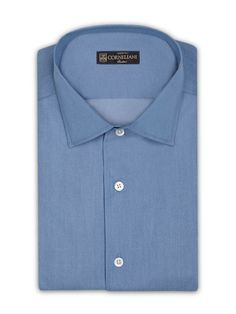 Light blue prewashed indigo cotton #shirt, open flat collar. #Corneliani #FW16 #accessories