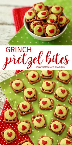 Grinch Pretzel Bites - Dr Seuss Inspired Treat Idea!  Grab my free Grinch face cut file and gift these in an adorable mason jar or tumbler!