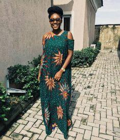 Elegant Ankara Cold Shoulder Maxi Dress at Diyanu African Party Dresses, African Print Dresses, African Wear, African Attire, African Fashion Dresses, African Dress, African Style, Ankara Fashion, African Prints