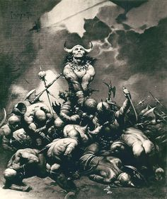 The Frazetta Conan painting that Frank felt he had to change. altering the actual painting this is probably as good representation as there's going to be. A lot of people really loved this image. Sadly Frank didn't, and while I'm all right with painting that replaced it, I miss this one.