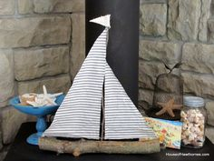 Come sail away...great summer sailboat from twig, branch and fabric