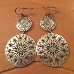 Brighton Flower Medallion Earrings Gorgeous flower earrings with Swarovski crystals. French wire hook. Brighton Jewelry Earrings