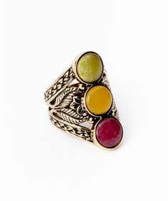 Take a look at the Aventurine & Jade Bronze Filigree Ring on #zulily today!
