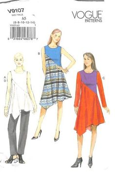 VOGUE 9107 - FROM 2015 - UNCUT - MISSES TUNIC, DRESS & TROUSERS