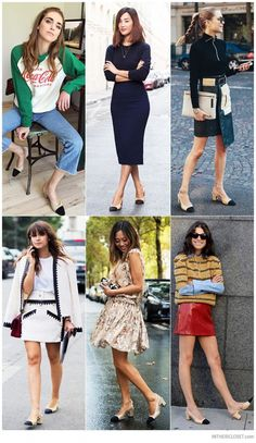Chiara Ferragni (The Blonde Salad) Nicole Warne (Gary Pepper Girl) Pernille Teisbaek (Look de Pernille) Miroslava Duma Aimee Song (Song of Style) and Leandra Medine (Manrepeller) wearing Chanel Two-Tone Slingback Pumps Heels Outfits, Classy Outfits, Cute Outfits, Fashion Outfits, Womens Fashion, Style Désinvolte Chic, Preppy Style, Casual Chic, Chanel Pumps