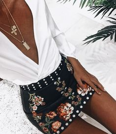 Studded + embroidered.