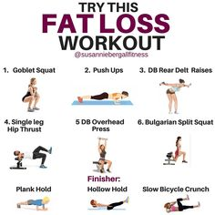 WANT TO BURN FAT? Try this fabulous Workout And Diet Programme For Women. Workouts don't have to be long and complicated. In fact, sometimes the shorter more intense workouts can turn out to be some of the best. So grab a pair of dumb bells at home, at the gym, or wherever, and let's get a workout in. The objective here is to go as quickly as you can through 1-6 with perfect technique. Never sacrifice form for speed. Workout Finisher you can tack on at the end if you want.