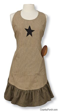 Primitive Star Apron is a great choice for your favorite farm chick! Aprons are back for gardening and the kitchen.