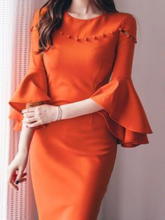 Round Neck Plain Bodycon Dress Orange Red s Plain Dress, Maxi Dress With Sleeves, Casual Dresses, Fashion Dresses, Fashion Clothes, Dress Silhouette, Indian Designer Wear, Business Attire, Dress First