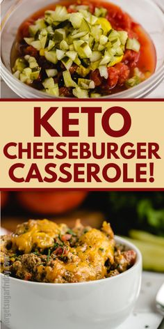 This keto casserole recipe will knock your socks off! If you're craving burgers on keto, then you'll want to make this Keto Cheeseburger Casserole. It is just as delicious as it sounds and will be a family-friendly keto recipe! Serve for a keto dinner or low carb dinner. Only 6g net carbs per serving and made with keto staples. An EASY keto recipe. Healthy Low Carb Recipes, Low Carb Dinner Recipes, Healthy Crockpot Recipes, Easy Healthy Dinners, Vegan Recipes Easy, Real Food Recipes, Diet Recipes, Keto Dinner, Cooking Recipes