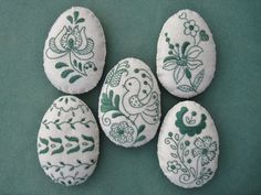 Ive hand embroidered this set of eggs with Hungarian motifs from a teal floss onto antique white wool felt. Each measures 4 1/2 tall and is gently stuffed with polyfil.  Thanks for looking and happy decorating