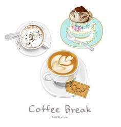 Coffee and tea Coffee Drawing, Coffee Art, Coffee Shop, Coffee Doodle, Tee Illustration, Watercolor Illustration, Watercolor Food, Food Log, Food Drawing