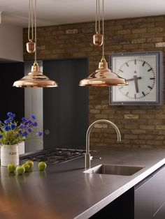 Available from Inspyer Lighting. Industrial style Spun School rise and fall pendant lights by Davey Lighting are available in either aluminium or copper. Copper Pendant Lights, Copper Lighting, Pendant Lighting, Light Pendant, Luxury Kitchen Design, Luxury Kitchens, Kitchen Ceiling Lights, Kitchen Lighting, Davey Lighting