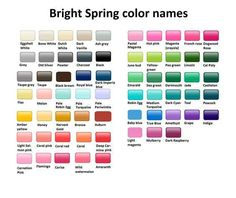 Bright spring color names clear spring, warm spring, clear winter, bright spring,