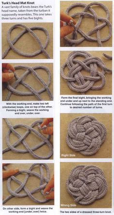 KNOTS PATTERNS: Knotted Coasters and Trivets; Have a little more yarn left to use? These coasters and trivets are a great way to put those bits and pieces to good use. Rope Crafts, Yarn Crafts, Diy And Crafts, Arts And Crafts, Feather Crafts, Handmade Crafts, Knitting Patterns, Crochet Patterns, Macrame Patterns