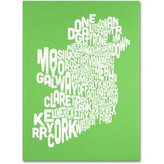 Trademark Art 'lime-Ireland Text Map' Canvas Art by Michael Tompsett, Size: 18 x 24, Green