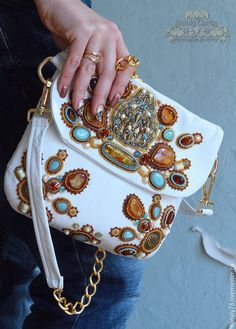 """Купить кожаная сумочка """" Солнечный берег"""" - белый, орнамент, вышивка по коже, Вышивка бисером"""