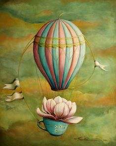balloons and other floaters. dreamlike work by santie cronje artist. Balloon Illustration, Illustration Art, Escudo River Plate, Watercolor Paintings, Original Paintings, Foto Transfer, Whimsical Art, Surreal Art, Hot Air Balloon