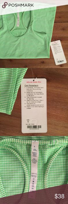 NWT Lululemon Cool Racerback Tank Green Size 6 Brand: Lululemon | Style: Women's Cool Racerback | Color: Frond | Size: 6 | Condition: New With Tags | Detail: See photos for tags lululemon athletica Tops Tank Tops