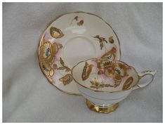 Stunning Gold Encrusted Poppies Pink Royal Stafford Teacup and Saucer Royal Stafford, Teacup, Poppies, Decorative Plates, Porcelain, Pottery, Hand Painted, Antiques, Pink