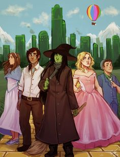 """electricgale: """"this is for school but yes here is a painting of some main characters from Wicked :> """" Wicked Book, Wicked Musical, Oz Series, Swimming Anime, Achievement Hunter, Rainbow Quartz, Defying Gravity, Night Vale, Meet The Artist"""