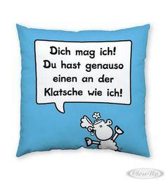 Sheepworld Baumwollkissen Klatsche Hier bei www.closeup.de