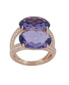 Rose Gold Ring with 104 Round Diamonds carat and Two Amethysts carats. Amethyst Jewelry, Round Diamonds, Heart Ring, Gold Rings, Sapphire, Rose Gold, Jewels, Engagement Rings, Crystals