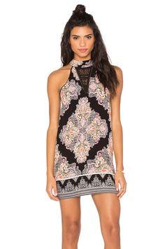 Band of Gypsies High Neck Printed Mini Dress in Black & Pink