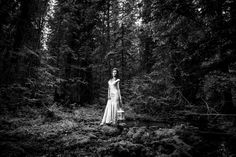 Dramatic vintage feel black and white, dreamy wedding portrait at Island Lake Lodge BC. Lifestyle Photography, Wedding Photography, Lodge Wedding, Bridal Portraits, Island, Statue, Weddings, Bride, Black And White